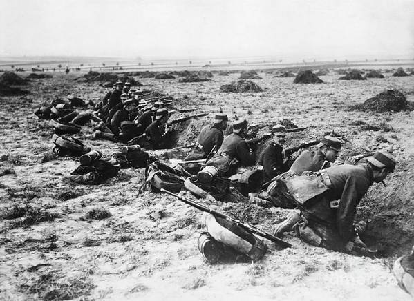 Rifle Art Print featuring the photograph German Soldiers With Rifles by Bettmann