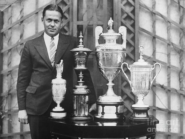 People Art Print featuring the photograph Golfer Bobby Jones With Golf Trophies by Bettmann