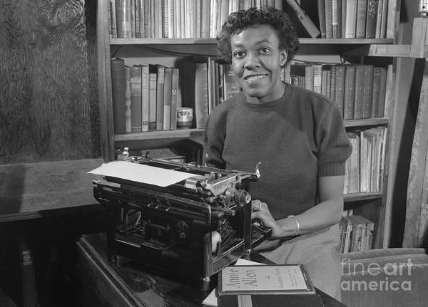 People Art Print featuring the photograph Gwendolyn Brooks With Typewriter by Bettmann