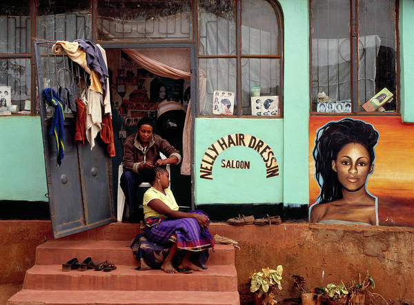 Working Art Print featuring the photograph Hairdresser Working On The Steps Of Her by Harry Hook