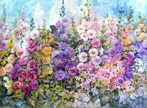 Flowers Art Print featuring the painting Hummingbird Heaven by Lois Mountz