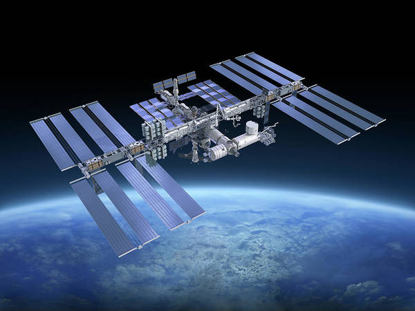 Solar Power Station Art Print featuring the photograph International Space Station Iss by Scibak