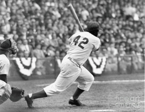 Sports Helmet Art Print featuring the photograph Jackie Robinson At Bat by Robert Riger