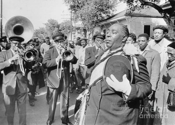 Fedora Art Print featuring the photograph Jazz Funeral For Bandleader John Casimir by Bettmann