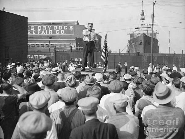 Employment And Labor Art Print featuring the photograph Labor Organizer Addressing Open Meeting by Bettmann