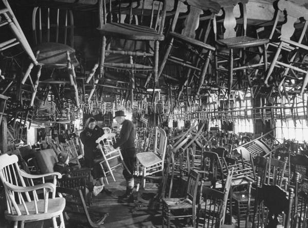 Timeincown Art Print featuring the photograph Large Room Full Of Chairs Being Offered by Walter Sanders