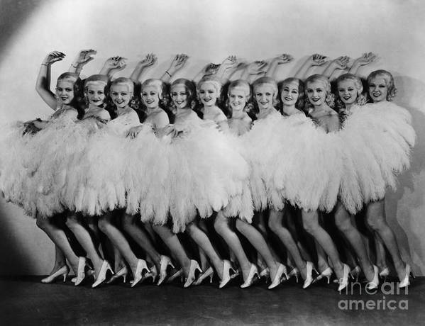 Dozen Art Print featuring the photograph Line Of Chorus Girls In Feathered by Bettmann