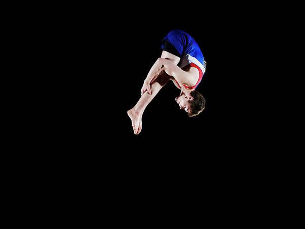 Focus Art Print featuring the photograph Male Gymnast 16-17 Mid Air, Black by Thomas Barwick