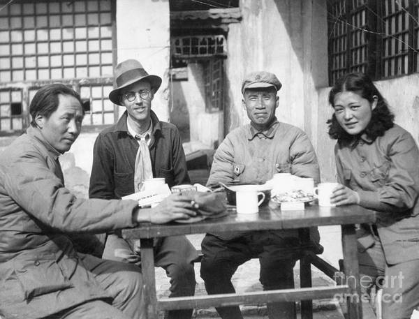 Zhu De Art Print featuring the photograph Mao Tse Tung, Wife, Others Seated At Tab by Bettmann