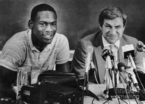 1980-1989 Art Print featuring the photograph Michael Jordan And Coach Dean Smith by Bettmann
