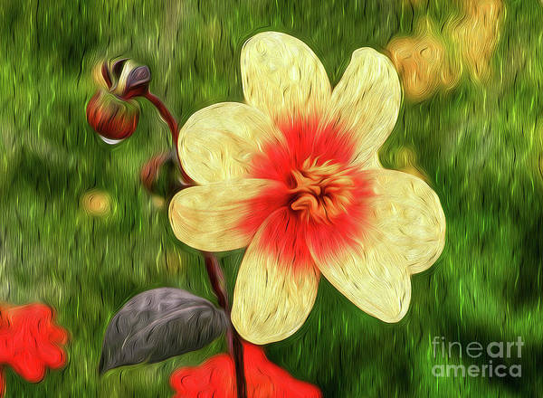 Flower Art Print featuring the digital art Morning Dew I by Kenneth Montgomery