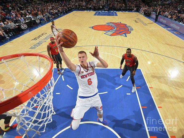 Nba Pro Basketball Art Print featuring the photograph New York Knicks V Atlanta Hawks by Jesse D. Garrabrant