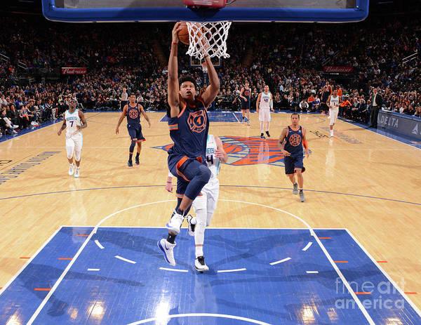 Description Art Print featuring the photograph New York Knicks V Charlotte Hornets by Jesse D. Garrabrant