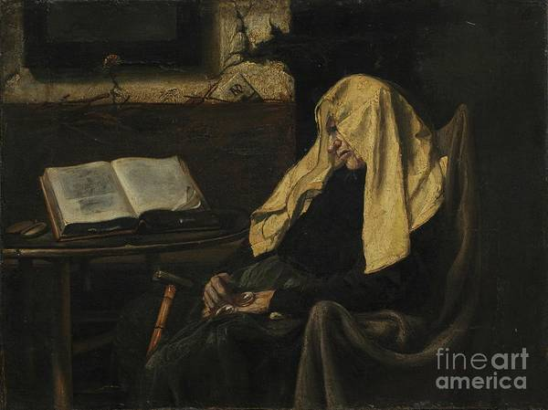 Senior Women Art Print featuring the drawing Old Woman Asleep by Heritage Images