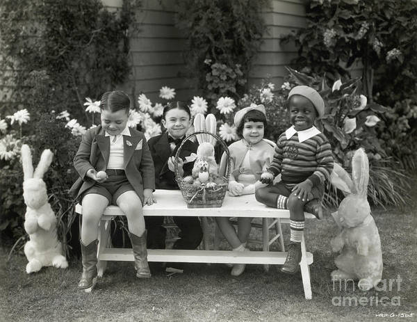 Easter Basket Art Print featuring the photograph Our Gang Kids Celebrate Easter by Bettmann