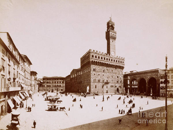People Art Print featuring the photograph Palazzo Vecchio In Florence by Bettmann
