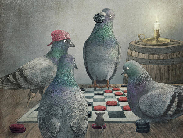 Pigeons Art Print featuring the drawing Pigeons Playing Checkers by Eric Fan