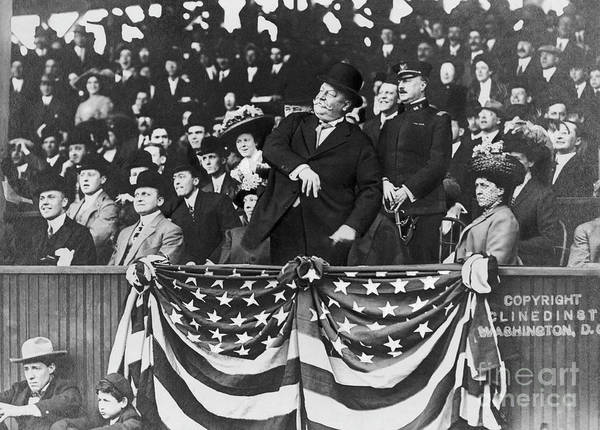 Mature Adult Art Print featuring the photograph President Taft Throwing The First Pitch by Bettmann