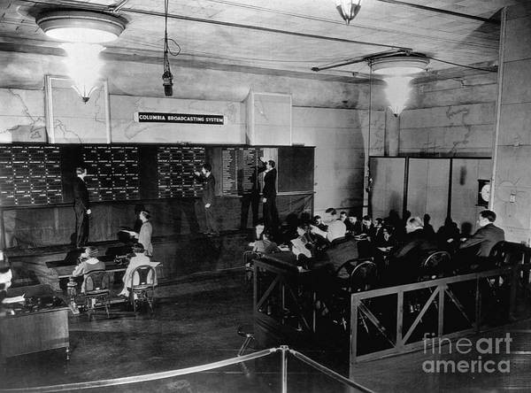 People Art Print featuring the photograph Radio Station Broadcasting Election by Bettmann