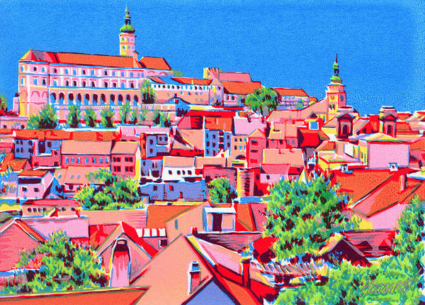 Roofs Art Print featuring the mixed media Red roofes cityscape art print by Vitali Komarov