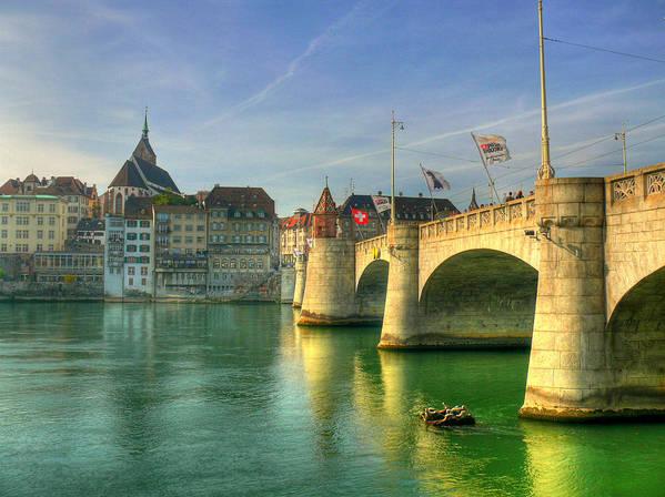Outdoors Art Print featuring the photograph Rhine Bridge In Basel by Richard Fairless