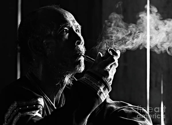 Asian And Indian Ethnicities Art Print featuring the photograph Senior Man Smoking Pipe, Vietnam by Tran Anh Linh