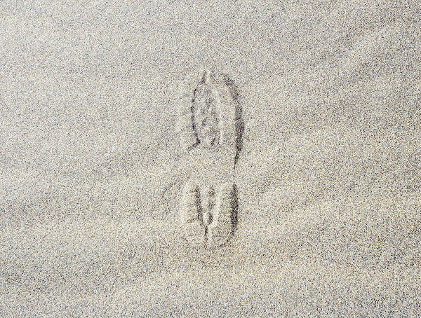 California Art Print featuring the photograph Shoe Print In Sand by Thomas Northcut