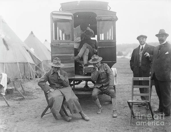 Ambulance Art Print featuring the photograph Soldiers Waiting At Dental Ambulance by Bettmann