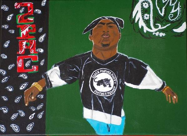 2pac Art Print featuring the painting Son Of a Black Panther by Sonye Locksmith