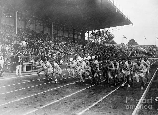 The Olympic Games Art Print featuring the photograph Start Of 3,000 Meter Olympic Race by Bettmann