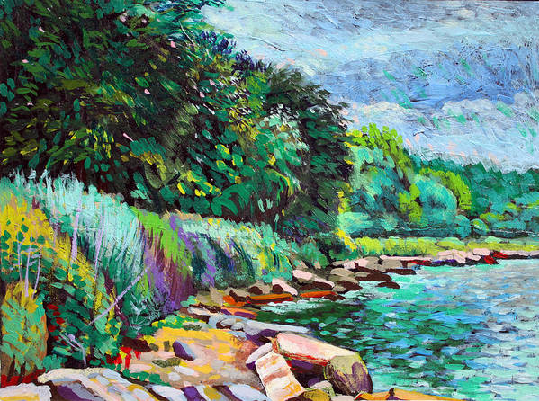 Tranquility Art Print featuring the digital art Summer Shore Of Hudson River, New York by Charles Harker
