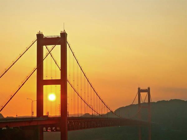 Suspension Bridge Art Print featuring the photograph Sunrise On Hirado Bridge by Kurosaki San