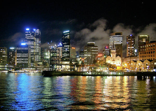 Outdoors Art Print featuring the photograph Sydney Harbour At Night - Circular Quay by Gregory Adams