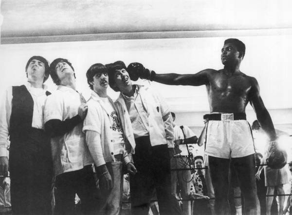 Sports Training Art Print featuring the photograph The Beatles And Muhammad Ali In 1964 by Keystone-france