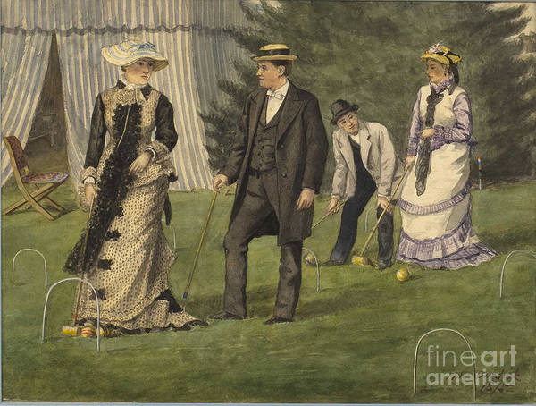 Painted Image Art Print featuring the drawing The Croquet Game by Heritage Images