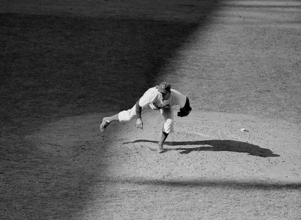Motion Art Print featuring the photograph The Dodgers Hal Gregg, In Action In The by New York Daily News Archive