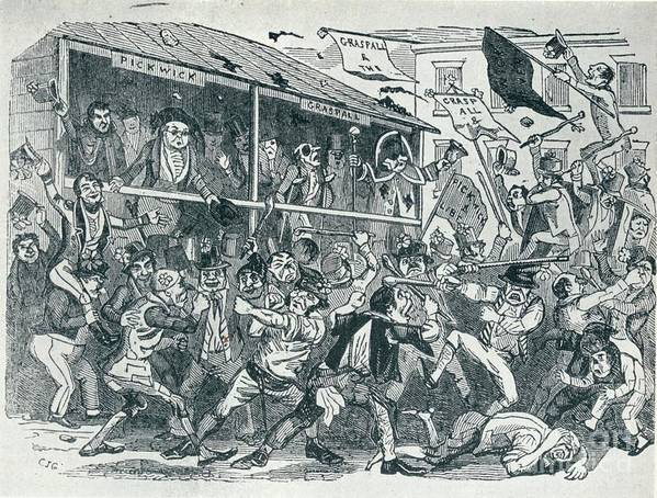 Engraving Art Print featuring the drawing The Election At Eatanswill, C1836, 1925 by Print Collector