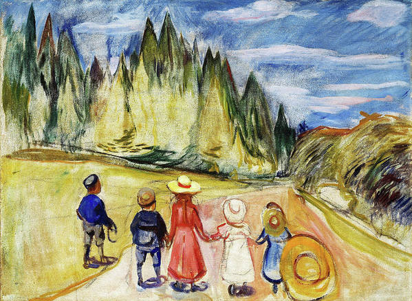 The Fairytale Forest Art Print featuring the painting The Fairytale Forest - Digital Remastered Edition by Edvard Munch