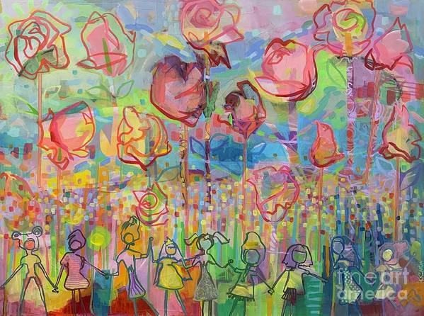 Garden Art Print featuring the painting The Rose Garden, Love Wins by Kimberly Santini
