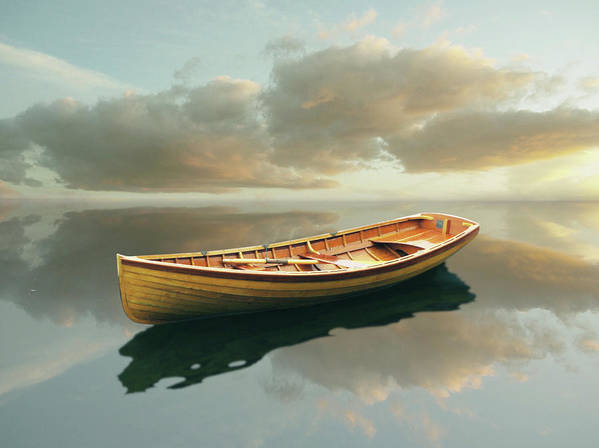 Canoe Art Print featuring the painting Time Out 13 by Carlos Casamayor