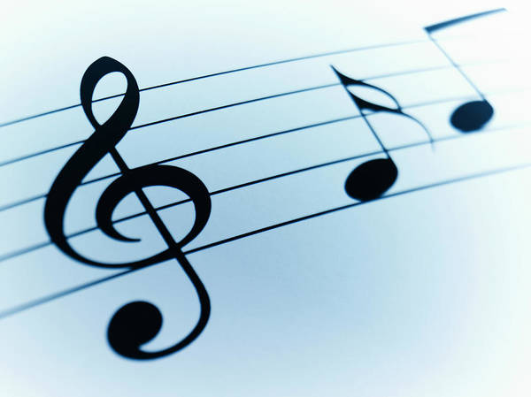 Sheet Music Art Print featuring the photograph Treble Clef And Notes by Adam Gault