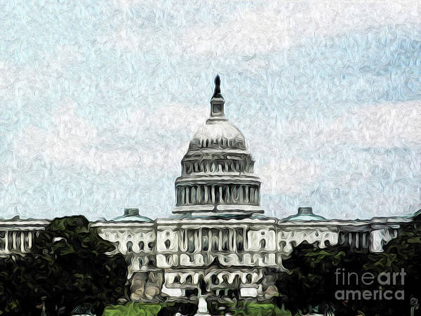 Washington Dc Art Print featuring the digital art United State Capitol by Kenneth Montgomery