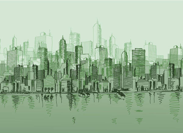 Dawn Art Print featuring the digital art Vector Sketch Of The A Cityscape In by Blindspot
