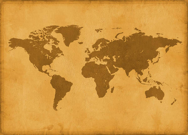 Material Art Print featuring the photograph Vintage Map Of The World In Brown by Yorkfoto