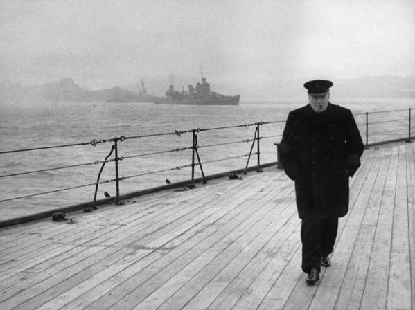 Winston Churchill Art Print featuring the photograph Winston Churchill At Sea by War Is Hell Store