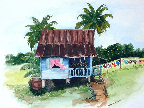 Landscape Painting Caribbean House Painting Blue House Painting Trinidad And Tobago Painting Greeting Card Painting Island Painting Tropical House Painting Blue Painting Art Print featuring the painting Little Blue House by Karin Dawn Kelshall- Best