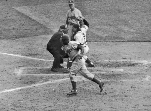 People Art Print featuring the photograph Jackie Robinson and Yogi Berra by Hulton Archive
