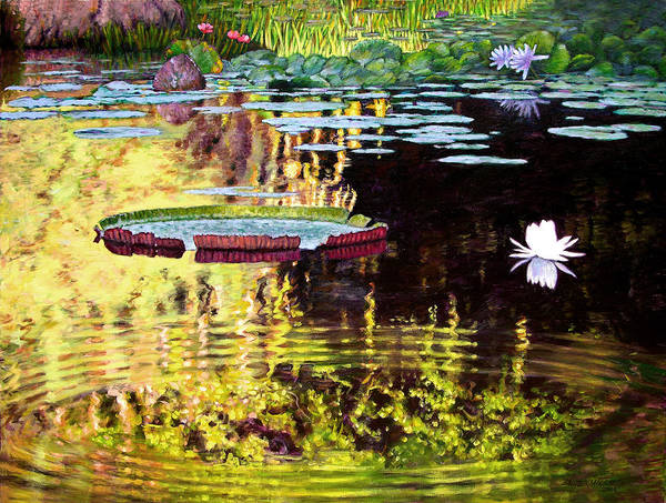 Garden Pond Art Print featuring the painting Ripples On A Quiet Pond by John Lautermilch