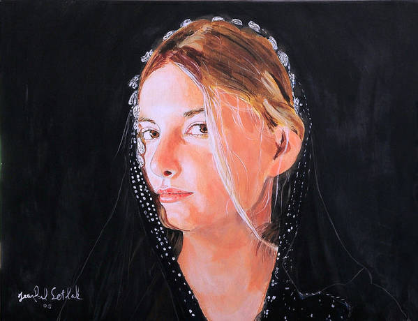 Portrait Of A Young Woman Art Print featuring the painting White Clouds by Jean-Paul Setlak
