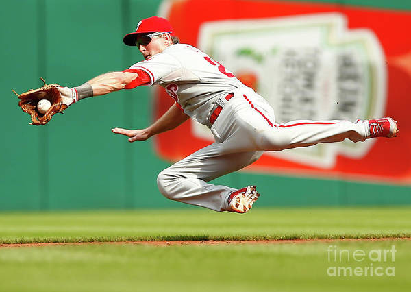 Second Inning Art Print featuring the photograph Chase Utley by Jared Wickerham